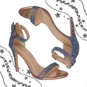 Glaze multi colored shimmer glitter heels